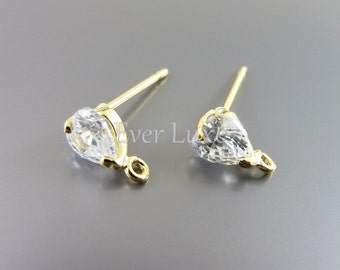 4 Simple CZ Cubic Zirconia clear crystal heart stud earrings, gold earrings for jewelry making / findings 1761G-CL (bright gold, 4 pieces)