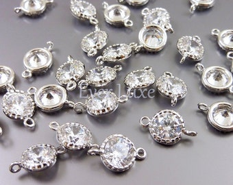 2 clear 6mm round cz cubic zirconia connectors for making jewelry, bead necklaces, earrings 1813R-CL-6