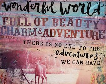 Wonderful World - inspirational paper print