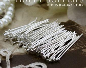 200pcs Nickel Free - 28mm Long Silver Plated Headpins (W121)
