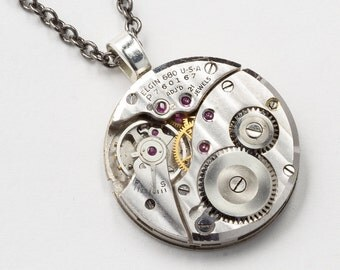 Steampunk Necklace Vintage Elgin Watch Movement with Genuine Ruby Jewels Industrial Silver Pendant Mens Steampunk Jewelry Statement Necklace