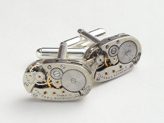 Steampunk cufflinks vintage Elgin oval watch movements wedding anniversary Groom Gift silver cuff links men jewelry by Steampunk Nation 1919