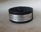 Personalized Dad Leather Bracelet Men's Leather One inch Wide Cuff Fathers Bracelet