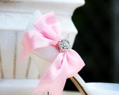 Pink Shoe Clips. Satin Bow & Rhinestone / Pearls. Bride Bridal Accessory. More: White Black Sage Royal Blue Red Ivory Navy Fuschia Champagne