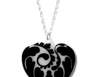 Fern Heart Necklace - Valentine's - Natural Pretty Fancy Floral Leaf Design  - Black and White Abstract Pattern