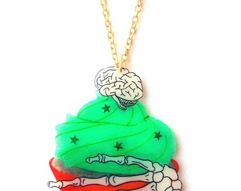 Zombie Cupcake Necklace - Halloween, Brain, Undead, Green Frosting, Red Bloody Cake, Skeleton Hand