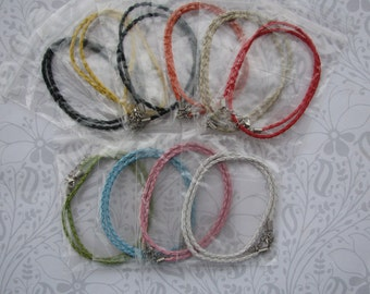 1 Colored Braided Leather Necklace Cord of your Choice