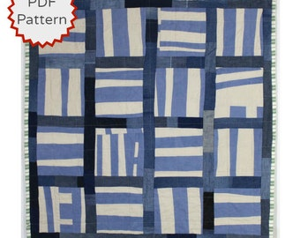 Modern Quilting Pattern. Improvisational Quilt Pattern. Basketweave Improv Quilt Downloadable PDF Pattern from Peppermint Pinwheels