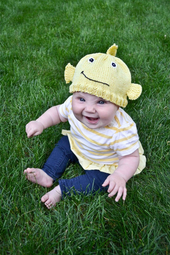 Items similar to knit fish baby hat pattern on etsy for Baby fishing hat