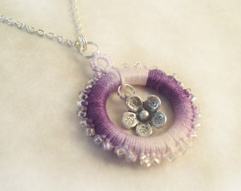 Lilac Flower Pendant - Beaded Lace - Flower Charm - Tatted Beaded Pendant - Variegated Lilac - Adjustable Necklace - Alys