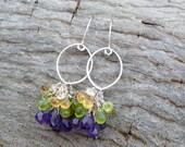 multi gemstone earrings - sterling silver earrings - amethyst peridot and citrine - dangle earrings - unique earrings