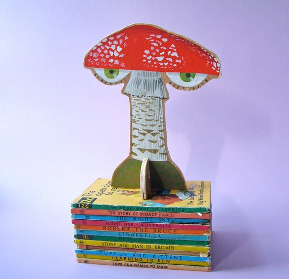 SALE - Hand painted wooden sculpture -- Red Fly Agaric Mushroom with Eyes