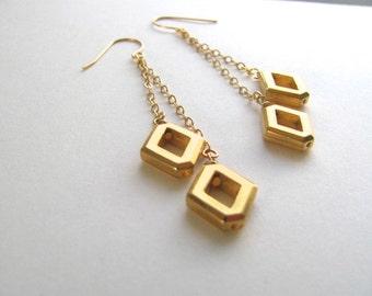 Geometric golden diamond dangle drop earrings, 14k gold plated fixtures