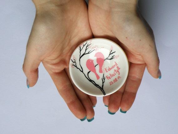 Hand painted Wedding Ring Pillow Alternative , Wedding Ring Dish Pink birds on branch