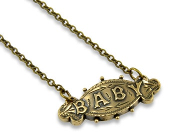 Two for One Sale....Victorian Baby Necklace - New Mom Necklace - Bronze
