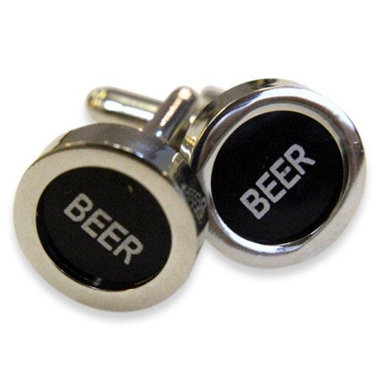 Beer Cuff Links - Cash Register Key Cufflinks - Black BEER Key - by Gwen DELICIOUS Jewelry Design