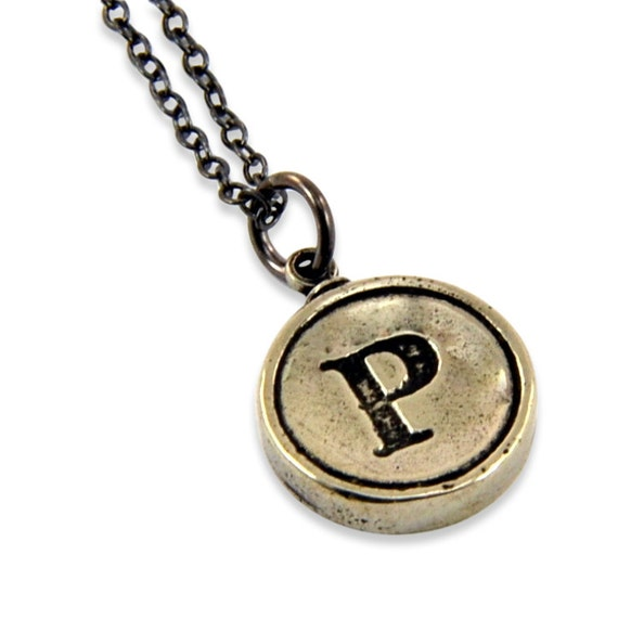 Letter P Necklace - White Bronze Initial Typewriter Key Charm Necklace - Gwen Delicious Jewelry Design GDJ