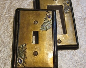 Switch Plate Cover Gold Metallic Peacock Feather MADE TO ORDER choose single toggle or rocker