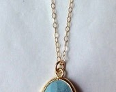 SALE: light turquoise blue stone drop necklace ( in gold or silver )