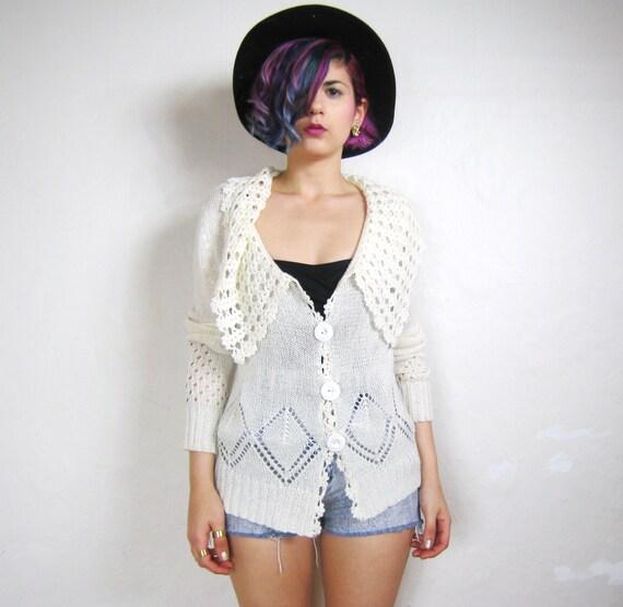 SALE 90s White Crochet Draped Collar Pointelle Cardigan (S/M)