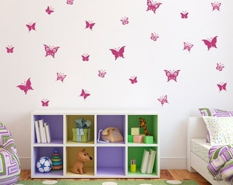 Butterfly Decal - Set of 28 Butterflies Wall Decals - Girl Bedroom Wall Stickers - Children Wall Decals
