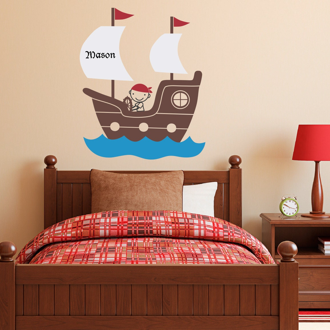 pirate ship wall decal with personalized by stephenedwardgraphic. Black Bedroom Furniture Sets. Home Design Ideas