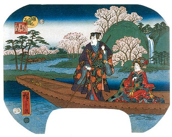Hand-cut wooden jigsaw puzzle. CHERRY BLOSSOMS JAPAN. Hiroshige. Japanese woodblock print. Wood, collectible. Bella Puzzles.