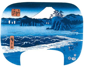 Wooden jigsaw puzzle. SHICHIRI BEACH JAPAN. Hiroshige. Japanese woodblock print. Wood, handcut, handcrafted, collectible. Bella Puzzles.