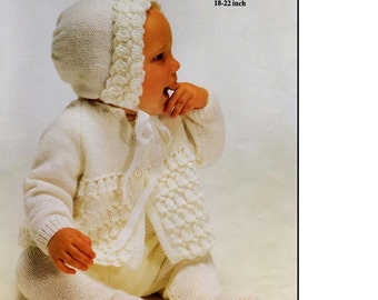 Vintage BABY KNITTING PATTERN - Baby Coat and Bonnet - 4 ply 18 to 22 inch