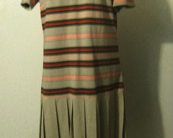 Vtg 60s Orange Brown Stripes MOD Drop-Waist Knife Pleat Dress