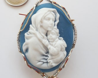 Madonna and Child Cameo Brooch wrapped in Sterling Silver and Gold Filled Wire