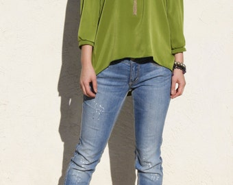 Silky Urban Blouse with three quarter sleeves-Moss Green