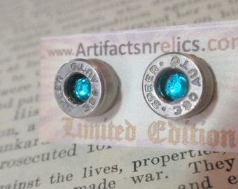 Bullet Earrings  -380 Caliber LIMITED EDITION Stud w TEAL gem Bullet Jewelry Stud style earrings Nickel plated silver