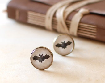 SALE -50% OFF. Black Bat Cufflinks. Bat Silhouette Cufflinks. Nature Inspired Cuff Links for Men. Halloween Cufflinks.  Men Jewelery.