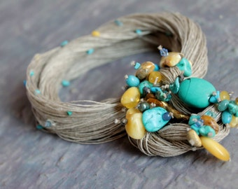 Aqua Blue Turquoise Necklace Bib Beach Fashion Jewelry Summer Fiber Art Baltic Amber Teal Apatite Cobalt Azure Honey Ultramarine Yellow OOAK