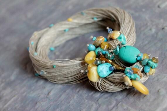 Aqua Blue Turquoise Necklace Bib Beach Fashion Jewelry Summer Fiber Art Baltic Amber Teal Apatite Cobalt Azure Honey Ultramarine Yellow OOAK