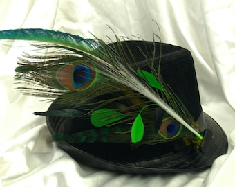 LIGHT UP Peacock Feather Hair or Hat Clip Fascinator - w Glowby Fiberoptic Light, Peacock, Bright Green and Black Feathers. Hat NOT Included