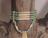 Bone hair pipe choker in turquoise blue with elk tooth