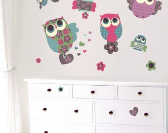 Children Wall Decals Owls Fabric Wall Decals (not vinyl), Large