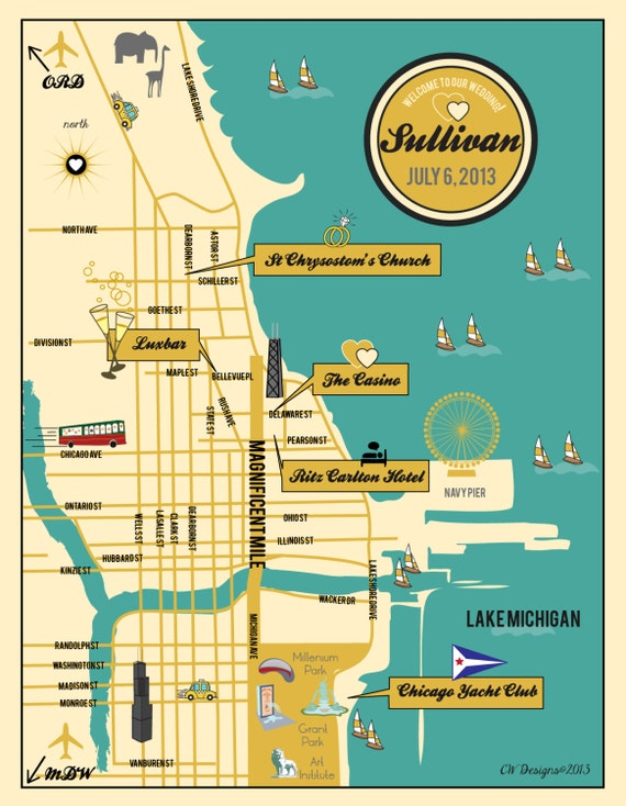 Custom Chicago Wedding Map Wedding Map Invitation Itinerary - Chicago map location