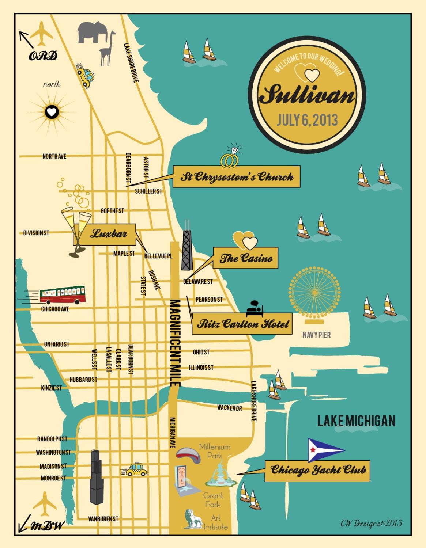 Custom Chicago Wedding Map Wedding Map Invitation Itinerary
