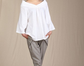 Casual Linen Blouse Three quarter Sleeve Shirt(more colour and size choice)