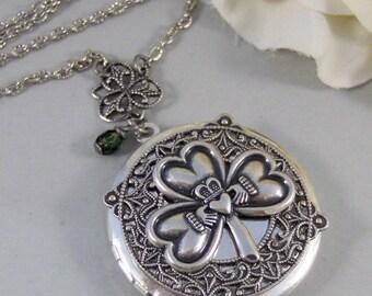 Irish Love,Locket,Claddagh, Antique Locket,Silver Locket,Heart,Crown, Irish,Lucky, Shamrock,Love. Handmade jewelry by valleygirldesigns