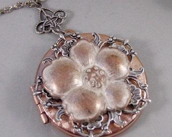 Golden Rose,Locket,Silver Locket,Flower,Rose Gold,,Antique Locket,Floral,Jewelry. Handmade jewelry by valleygirldesigns.