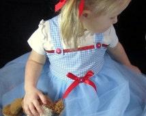 Dorothy Costume Tutu Dress: Blue & White tutu dress with red sparkle, wonderful wizard of oz, birthday party, costume, dress-up, adjustable