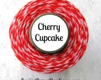 Valentine Bakers Twine by Trendy Twine - Valentine Cherry Cupcake - Pink and Red Twine - Christmas Twine