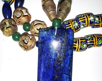 Big Bold necklace Modern Ethnic African Trade Beads Chunky Lapis Pendant