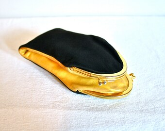 Rare Vintage GUCCI Wallet Coin Purse Black Suede Yellow Leather Double Sided - AUTHENTIC -
