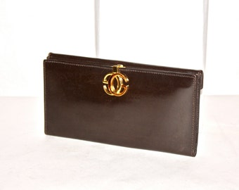 GUCCI Vintage Brown Leather Wallet Monogram Enamel Coin Clutch - AUTHENTIC -
