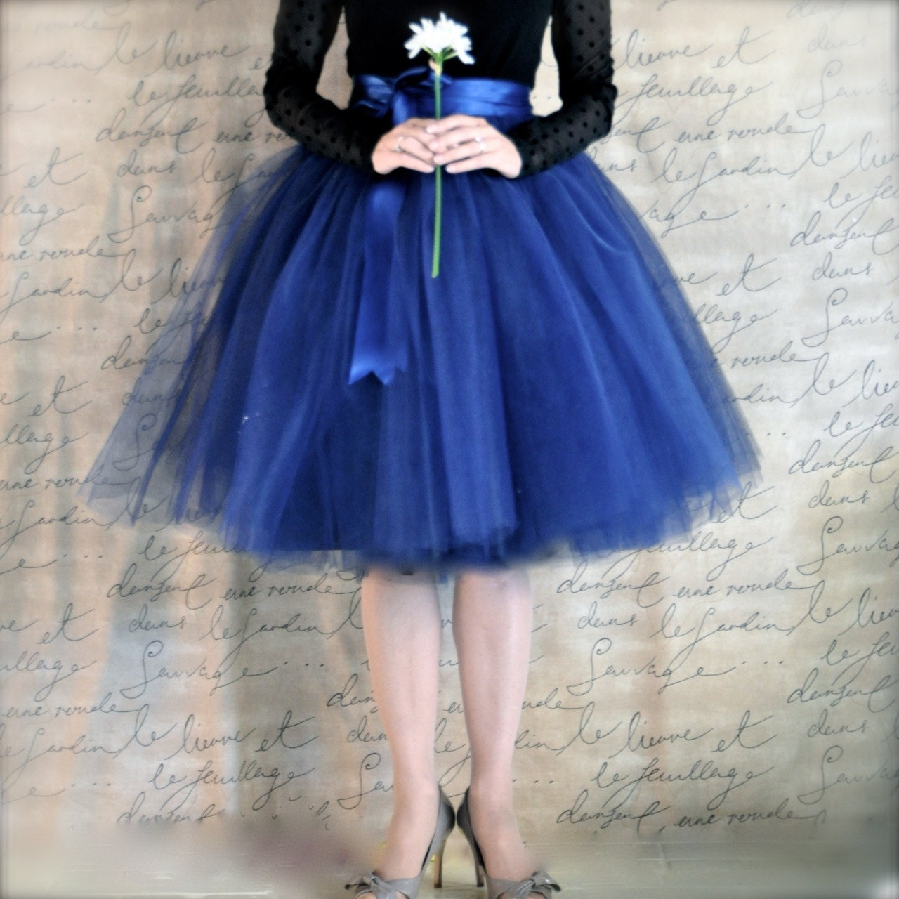Navy blue tulle skirt tutu for women lined in black satin with
